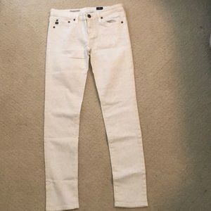 Anthropologie white cheetah print jeans